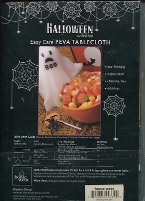 Halloween Collection Easy Care PEVA Tablecloth Whimsical Pumpkin 60