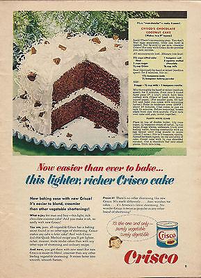1963 CRISCO AD Vintage Food~Chocolate Coconut Cake Recipe~Baking Kitchen Decor