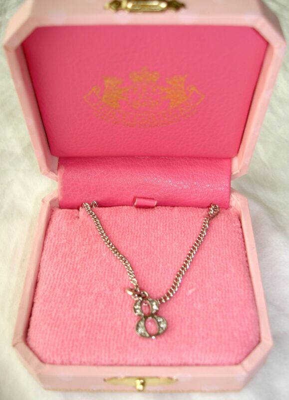 NEW JUICY COUTURE Girls NECKLACE PENDANT LUCKY NUMBER 8 RHINESTONE PAVE CHARM