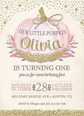 Pink and Gold Little Pumpkin Birthday Invitations- 10 Printed with Envelopes