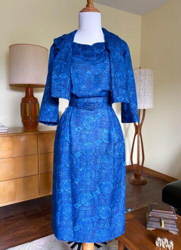 50s Dress Nelly Don Vintage 2 Piece Dress Jacket Set Blue Batik Ethnic Print