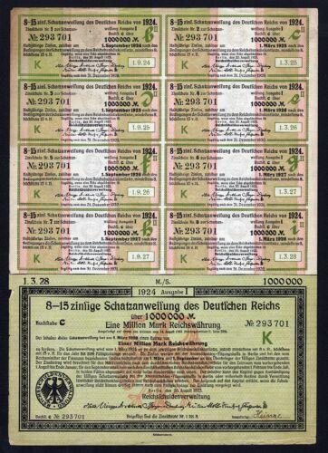 1923 Berlin Germany: 1000000 Mark (1 Million Mark) Treasury Bond Schatzanweisung