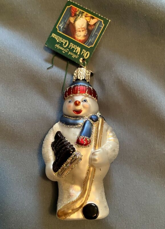 Old World Snowman Hockey Holiday Christmas Ornament NEW IN BOX