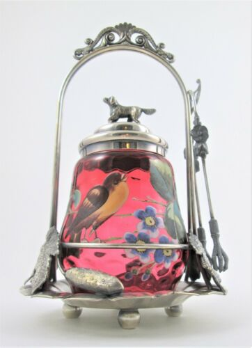 WOW! antique PICKLE CASTOR - Figural DOG, Enamel BIRD cranberry IVT Jar  WEBSTER