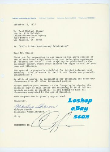 Rare PAUL MICHAEL GLASER signed letter document vintage original STARSKY & HUTCH