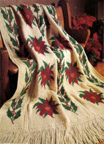 POINSETTIA CHRISTMAS AFGHAN /  VINTAGE CROCHET PATTERN