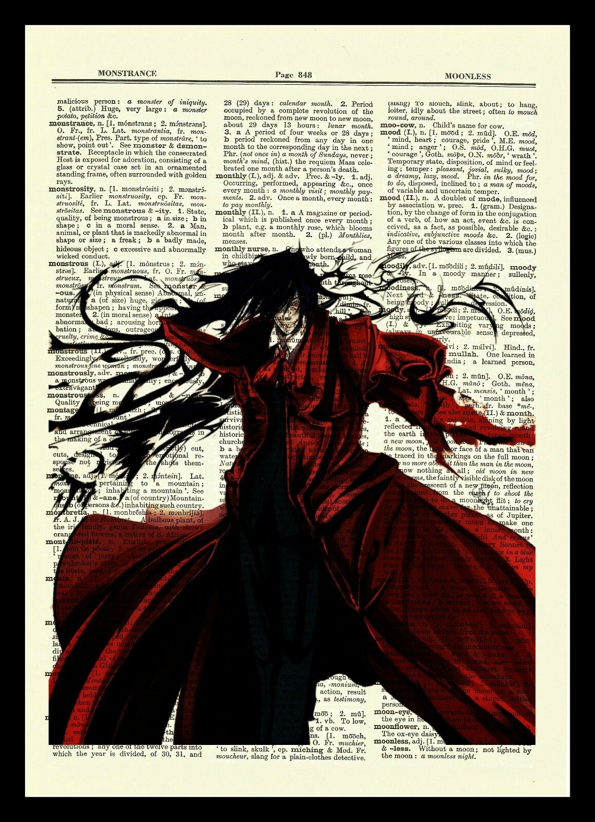 Hellsing Alucard Anime Dictionary Art Print Poster Picture Book