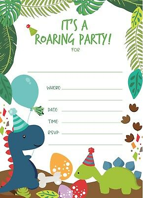 Dinosaur Happy Birthday Invitations 25ct Invite Envelopes Seal Boys Girls Party