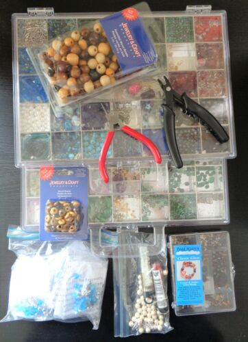 Huge Lot of Beads with cases, Tools and Supplies for Jewelry, Crafts and More.