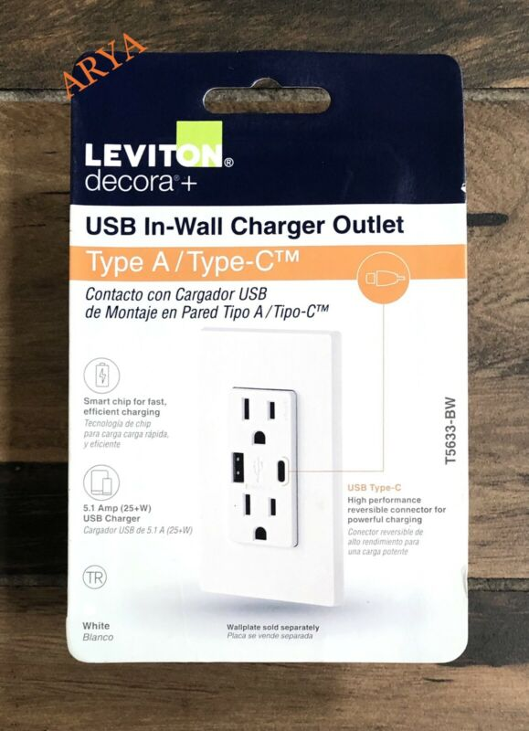 Leviton Decora Type C T5633-BW USB  Charging TAMPER RESISTANT  WHITE NEW