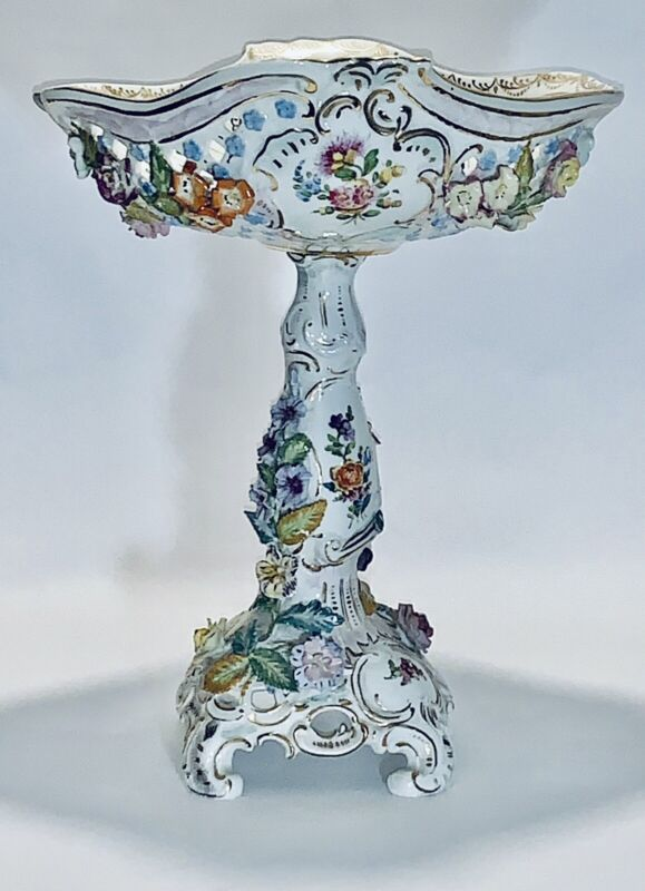 Stunning Antique French Old Paris Porcelain Compote Corbeille Center Piece