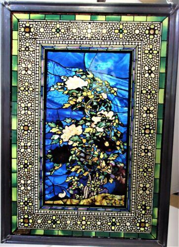 John La Farge Peonies Blown in the Wind Stained Glass Panel MFA, Boston