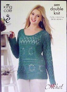 King Cole DK Crochet pattern Ladies  sweater jumper 28