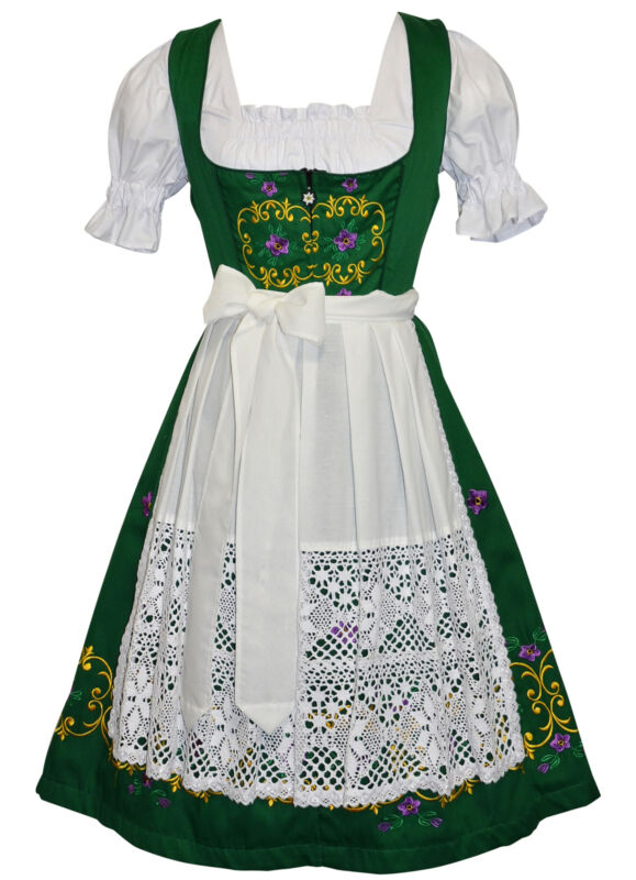 Sz 18 Long Dirndl Waitress Dress Oktoberfest German Hostess EMBROIDERED 3 Pc SET
