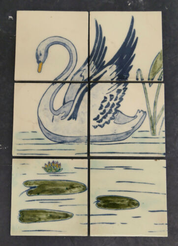 Vintage 6-Tile Panel with Swan