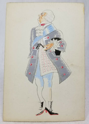Antique Style Vintage Costume Design Illustration English French Unsigned
