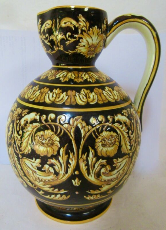 """Antique Gien French Faience Water Pitcher - 8.75"""" Tall - Mint Antique Condition"""