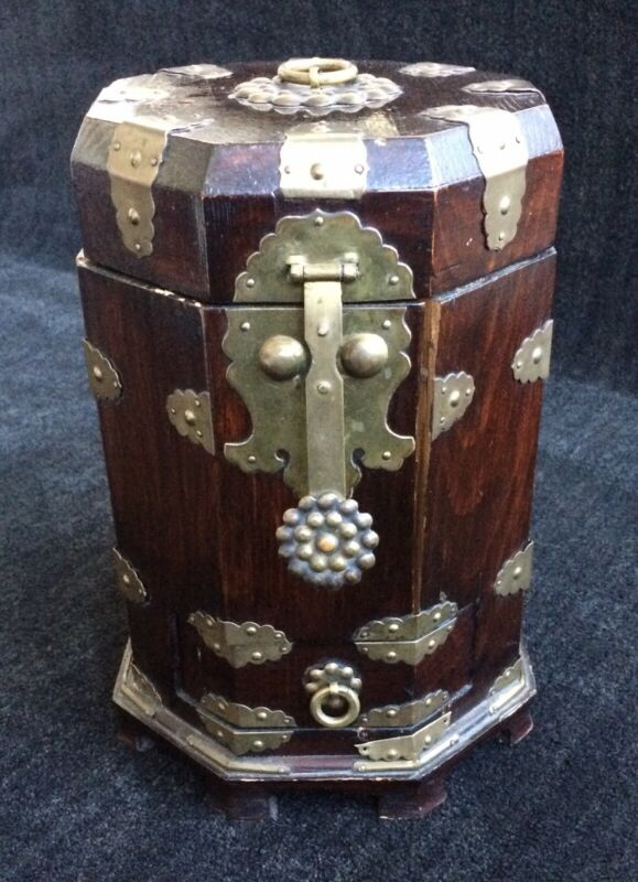 Chinese Tea Caddy ~ Brass Hardware