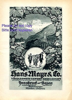 Tirolerwein Mayr Innsbruck & Bozen Reklame 1927 Tirol Wein Weinrebe Werbung