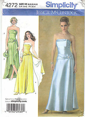 Bride Bridesmaid MOB Dress Evening Wedding Simplicity Sew Pattern 4272 Sz 8-16