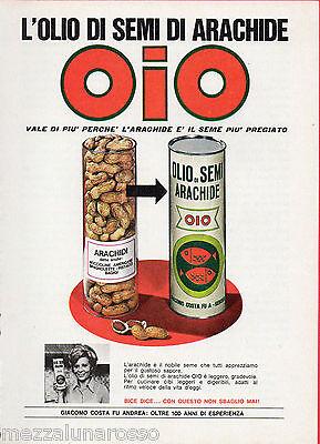 Pubblicità Advertising 1970 Olio di semi di arachide OIO (Bice Valori)