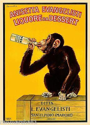 Anisetta Evangelisti Chimpanzee Monkey Wine Vintage Advertisement Art Poster
