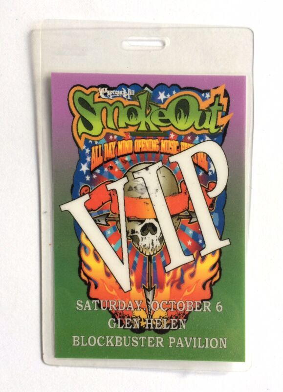 CYPRESS HILL 2001 SMOKE OUT LAMINATED VIP  PASS FEAR FACTORY BUSTA RHYMES