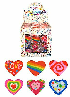 1-48 4cm Heart Pink Eraser Rubber Kids Girls Party Goody Bag Pinata Filler Toy