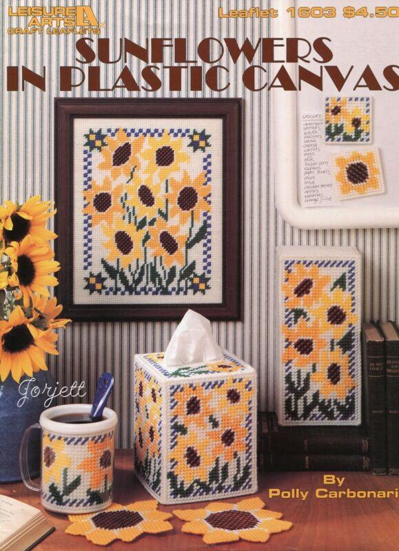Sunflowers Coasters Mug Tissue Cover & More plastic canvas pattern book NEW rare