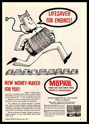 1957 MoPar Engine Oil Additive Concentrate Mechanic Hat Cartoon Vintage Print Ad