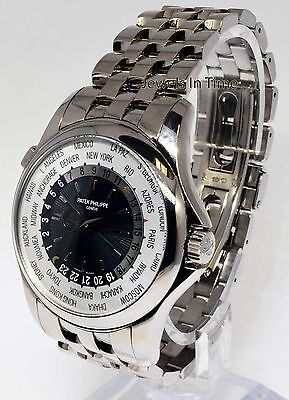 $50136.25 - Patek Philippe Mens World Time Watch 18k White Gold Box/Papers 5130/1G-011