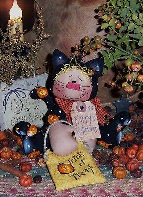 Primitive Cat Annie Halloween Ornie Doll Paper Pattern #168