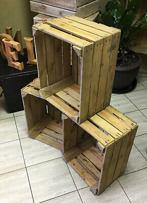 WOODEN STORAGE BOXES - Bundle of 6 Apple Crates Fruit Box - Free Fast Delivery