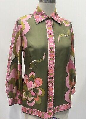 Vintage 60s 70s EMILIO PUCCI Silk Blouse Pink Green Mod Jet Set Size 14 Italy