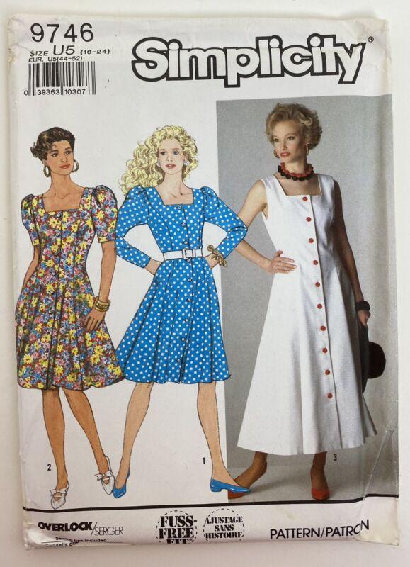 Vintage Simplicity Pattern 9746 Miss button front dress Size 16-24 Uncut 1990