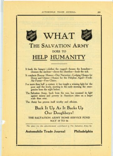 "1919 Salvation Army Charity Ad: ""What the Salvation Army Does to Help Humanity"""