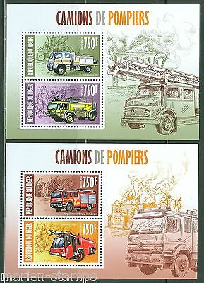 NIGER 2013  FIRE ENGINES SET OF TWO SHEETS  MINT NH