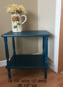Small blue accent table