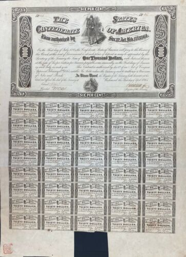 1864 $1000 Confederate States Coupon Bond – Criswell 149, Ball 360
