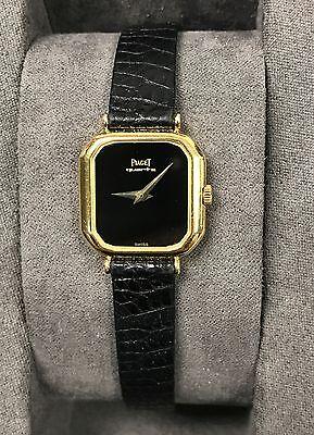 Women's PIAGET 18K Yellow Gold Watch Onyx Dial w/ Original Lizard Strap + Buckle