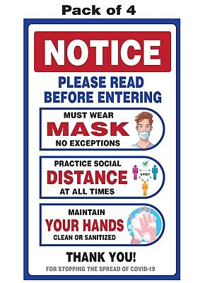 Door Sticker Decal Window Sign Social Distance Must Wear Mask Entering - 8x5 4