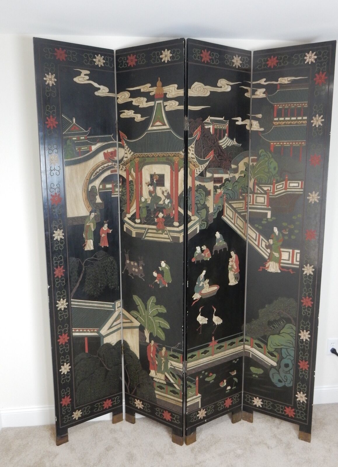 Купить Beautiful Hand painted and carved Chinese Room divider 84 inches