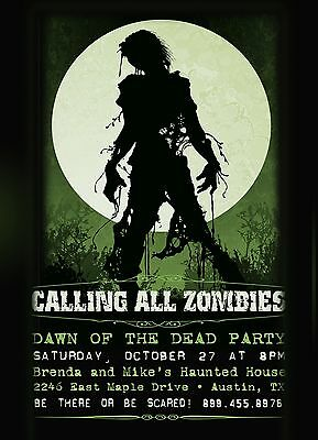 Zombies Halloween Party Invitations- Personalized, Printed with Envelopes