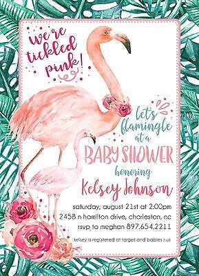 Flamingo Baby Shower Invitations- Personalized and Printed with Envelopes