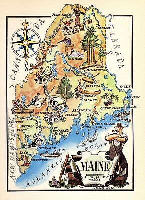 1950s  Antique Animated MAINE State Map Vintage Pictorial Map of Maine 6376