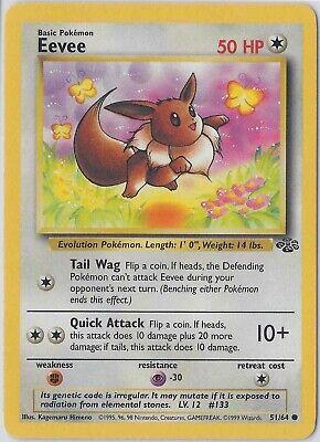 Unlimited Edition LP Common Pokemon Card EEVEE 51//64 Jungle Set