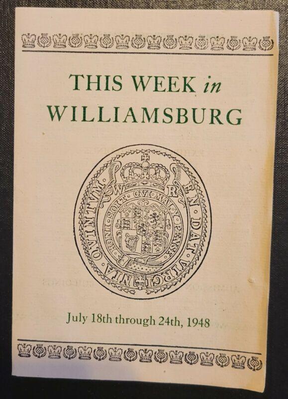 This week in Williamsburg VA 1948 vintage advertising pamphlet
