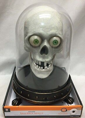 Halloween Prop Animated Spooky Talk Back Skully Eyes Light Up Jaw Moves to Words (Skully Halloween)