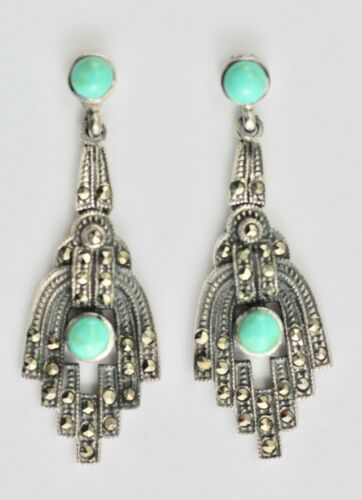 Victorian Style Turquoise  & Marcasite Drop Earrings 925 Sterling Silver