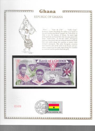 Ghana Banknote  10 Cedis 1984 P 23 UNC with UN FDI FLAG STAMP Prefix B/1